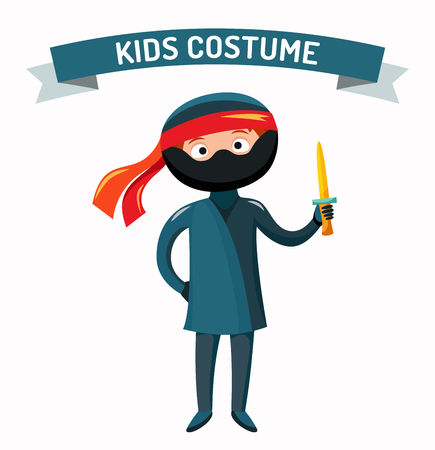 kids costume: Ninja kid costume isolated vector illustration. Kids party costume vector isolated. Children party costume. Kids costume