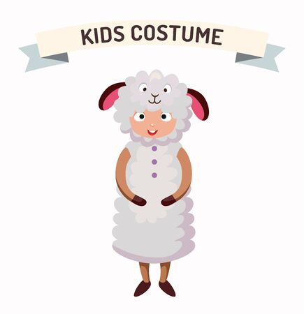costume party: Sheep kid costume isolated vector illustration. Kids party costume vector isolated. Children party costume. Kids costume Illustration