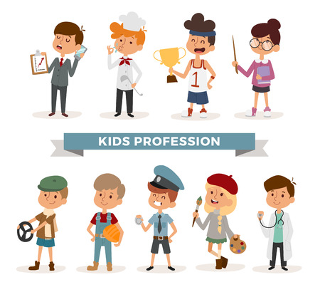 Set of cute cartoon professions kids. Painter, sportsman, cook chef, builder. Policeman, doctor, artist and driver, businessman. Funny cartoon boys kids. Professions kids children vector. Profession kids