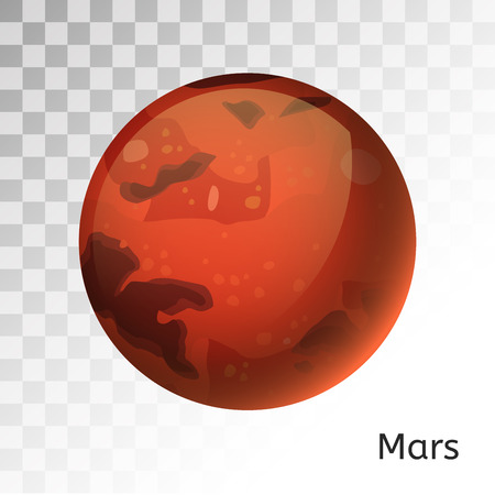 화성 행성 3d 벡터 일러스트 레이 션입니다. 글로브 화성 텍스처 맵. 글로브 벡터 화성은 우주에서 볼 수 있습니다. 화성 그림입니다. 벡터 화성 행성입