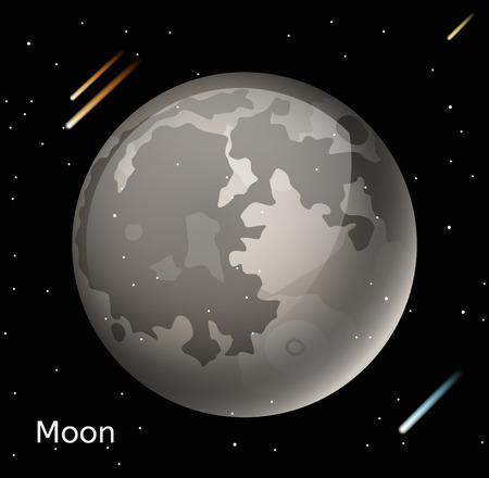 noche y luna: Luna planeta ilustración vectorial 3d. Globo Luna mapa de textura. Vector del globo de la luna vista desde el espacio. ilustración luna. vector del planeta Luna. Luna planeta silueta, mapa del mundo, 3d Luna
