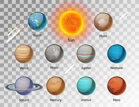 Planets colorful vector set on white background, Planet vector set. Planet icons 3d infographic elements. Planets collection silhouette. Planets illustration vector 3d icons. Planet icons isolated Çizim
