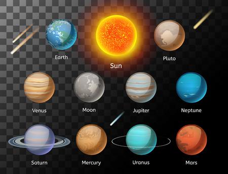 Planeten kleurrijke vector set op een donkere achtergrond, Planet vector set. Planet pictogrammen 3d infographic elementen. Planeten collectie silhouet. Planeten illustratie vector 3d pictogrammen. Planet iconen Stock Illustratie