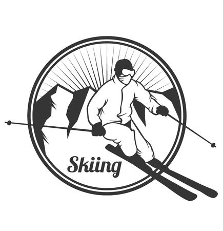 Ski resort emblems, labels badges vector elements. Extreme ski, snowboarding resort club badges set.  Illustration