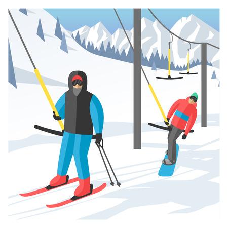chairlift: Snowboarder sitting in ski gondola and lift elevators. Winter sport resort background. Snowboard people rest.