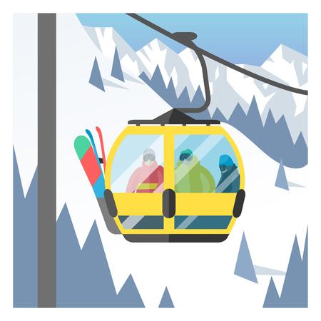 elevators: Snowboarder sitting in ski gondola and lift elevators. Winter sport resort background. Snowboard people rest. Snowboarder lifting. Special snowboard elevators. Ski elevators vector. Snowboard jump