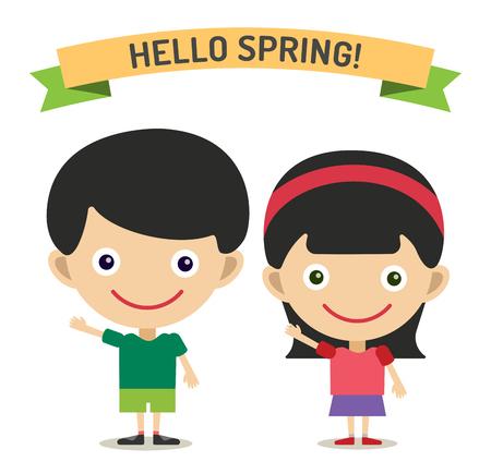 Hello Summer cartoon boy and girl with hands up vector illustration. Boy and girl summer greeting design. Kids summer dress. Children vector
