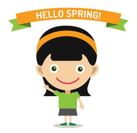 sun sky: Hello Summer cartoon girl with hands up vector illustration. Girl summer greeting design. Kid summer dress. Children girl vector Illustration