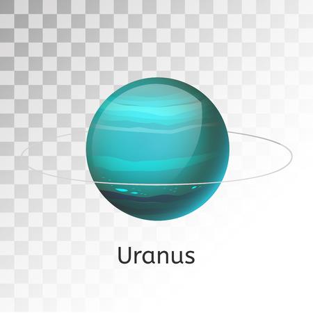Uranus planet 3d vector illustration. Globe Uranus texture map. Globe vector Uranus view from space. Uranus illustration. Vector Uranus planet. Uranus planet silhouette, world map, 3d Uranus