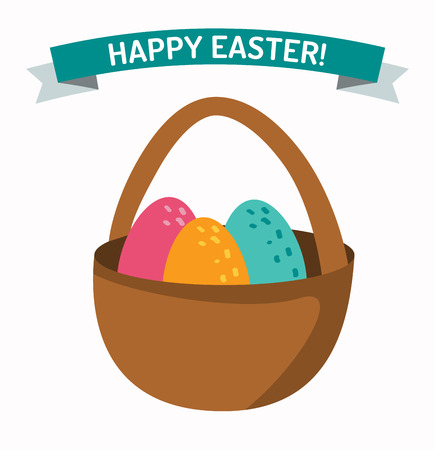 egg white: Basket with easter eggs isolated on white background. Easter eggs in basket illustration, Easter eggs. Brown easter basket with eggs Illustration