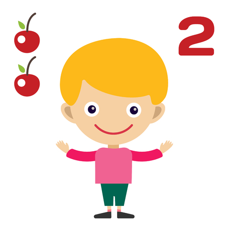 education help: Cartoon boy learning game card. Education math cards with fruits and vegetables. Kids boy help to kids learning numbers. Kids school materials. Easy count game. Boy earning funny numbers