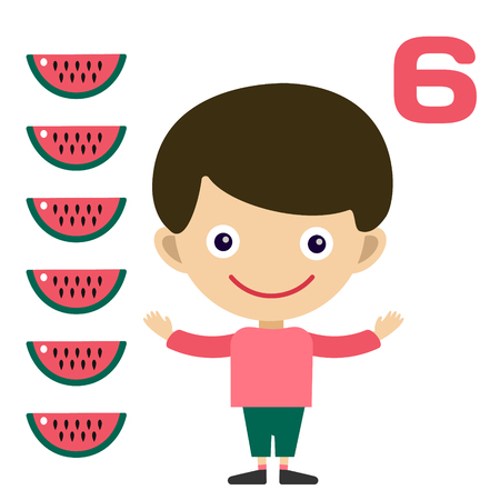 educational material: Cartoon boy learning game card. Education math cards with fruits and vegetables. Kids boy help to kids learning numbers. Kids school materials. Easy count game. Boy earning funny numbers