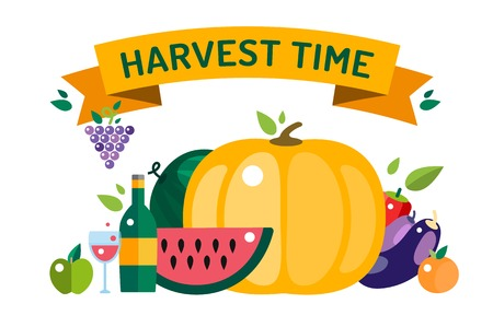 harvesting: Harvest food icons objects. Harvest fruits and vegetables. Harvest basket and harvest isolated objects. Harvesting. Harvest background. Harvest  autumn season. Harvest objects isolated