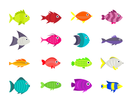 coral ocean: Cute fish vector illustration icons set.