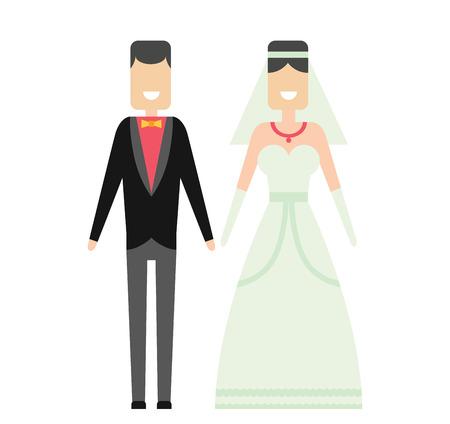 donna innamorata: Coppie di cerimonia nuziale stile cartoon illustrazione vettoriale.