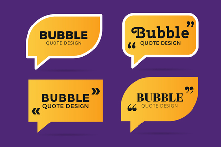 reference: Quote blank template. Quote bubble. Empty template. Quote design, quoting box, text sign reference, paper information template. Quote form. Bubble template vector set. Yellow quote blank icon isolated Stock Photo
