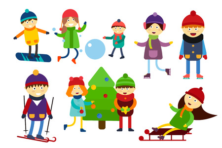 winter girl: Winter holidays background. Christmas kids playing winter games. Skating, skiing, sledding, girl dresses up Christmas tree, boy makes a snow man, children playing snowballs. Cartoon New Year kids collection
