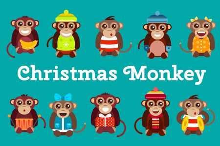 banana illustration: Happy cartoon monkey toys dancing party birthday background. Monkey party birthday dance. Merry christmas monkey toys, monkey, banana, jump, smile, monkey play. Monkey animals cartoon flat style