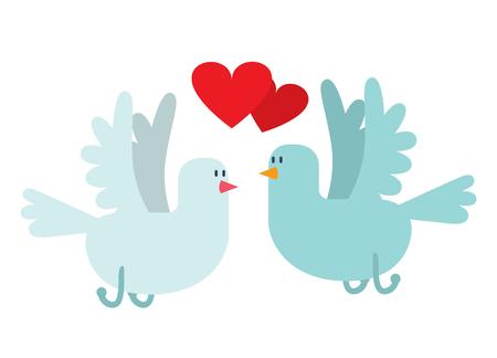 paloma caricatura: Palomas par con los corazones icono ilustración. estilo de las aves de dibujos animados de la paloma vuela con dos corazones pareja. Día de San Valentín o el diseño de tarjetas de boda. tarjeta de felicitación de San Valentín