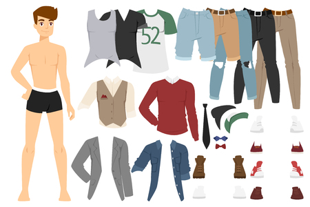 everyday: Beautiful cartoon fashion boy model constructor  look standing over white background. Cartoon fashion young man. Modern beauty looks. Some modern everyday clothes icons
