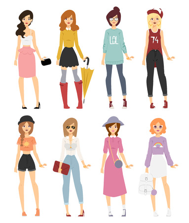 girl with bag: Beautiful cartoon fashion girl models look standing over white background. Cartoon fashion young woman. Modern beauty look. Some modern clothes Illustration