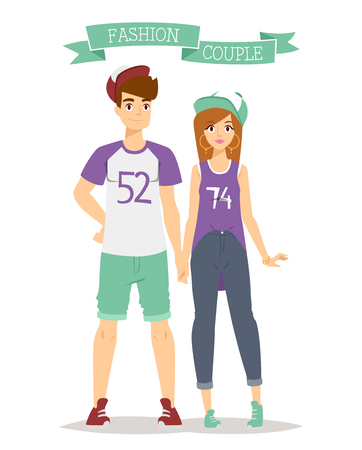 couple in summer: Beautiful cartoon couple fashion clothes models look standing over white background. Cartoon fashion people young couple. Modern beauty look. Some modern clothes Illustration