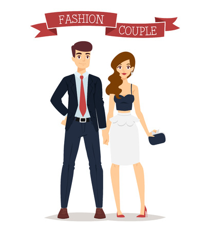 summer girl: Beautiful cartoon couple fashion clothes models look standing over white background. Cartoon fashion people young couple. Modern beauty look. Some modern clothes Illustration