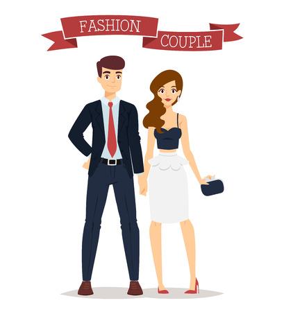 ni�as sonriendo: modelos de ropa hermosa pareja de dibujos animados de moda parecen coloca sobre el fondo blanco. gente de la moda de dibujos animados joven pareja. aspecto belleza moderna. Algunos ropa moderna