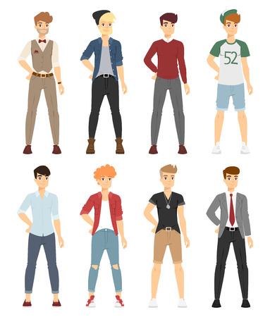 beautiful dress: Beautiful cartoon fashion boy models look standing over white background. Cartoon fashion young man. Modern beauty look. Some modern clothes
