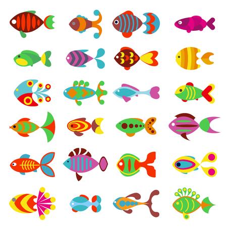 수족관 플랫 스타일 물고기 아이콘. 물고기 아이콘의 집합입니다. 바다와 흰색 배경에 고립 된 수족관 물고기. 물고기 만화 귀여운 스타일 그림 일러스트