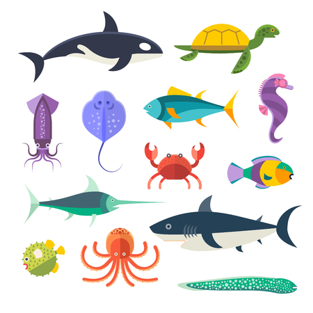 海魚介類動物のセット。サメ、イカ、タコ、魚、ハリネズミ、見た、カニ、イルカ、シャチ、クジラ、カクレクマノミ、海の馬、亀、アカエイ、ウ  イラスト・ベクター素材