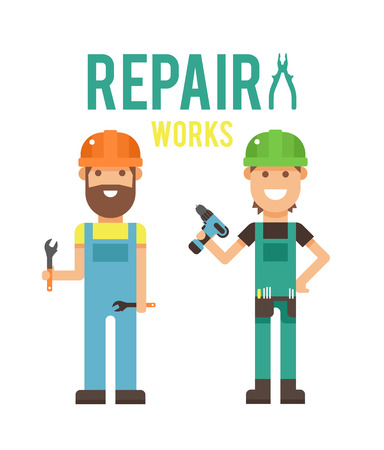 carpenter tools: Cartoon workers couple and tools under construction illustration. cartoon flat people under construction isolated on white background Illustration