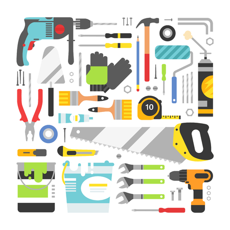 hammer drill: Construction equipment tools flat icons set. Flat style illustrations under construction. Tools like hammer, drill, ruler, repair and saw objects Illustration