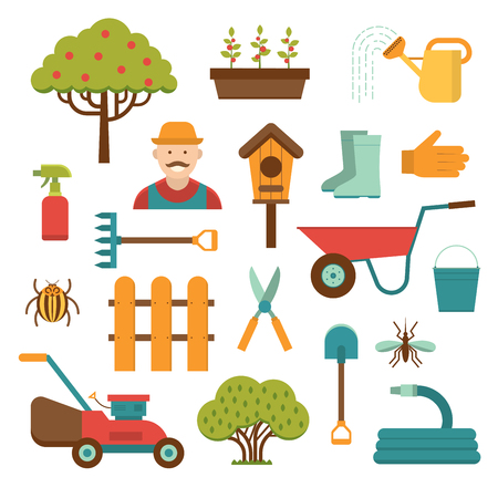crop sprayer: Gardening tools icons isolated on white background. Gardener and garden tools icons. Garden care tools, garden equipment icons isolated. Gardening tools flat style vector collection