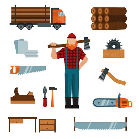 woodcutter: Lumberjack cartoon character with lumberjack tools icons illustration. Lumberjack isolated on white background. Lumber axe, wood truck, woodcutter Illustration