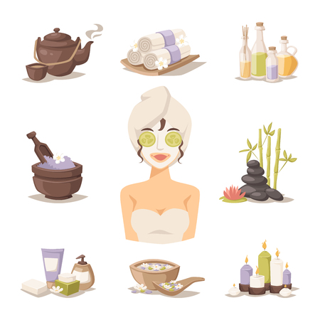 beauty girl pretty: Spa beauty and body care icons and spa woman mask. Spa woman on white background. Spa icons. Spa silhouette sign. Body and skin care modern style illustration Illustration