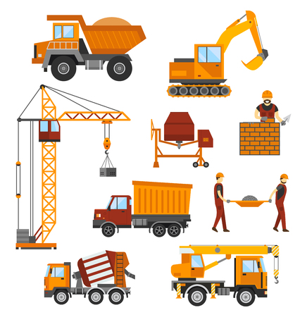 Building under construction, workers and construction technique illustration. Building mixer truck, crane. Under construction concept. Workers in helmet, construction machine isolated Ilustrace