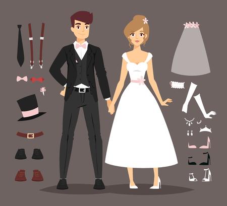 paloma caricatura: De dibujos animados par de la boda ilustración. pareja joven boda aislado en el fondo y los iconos de la boda paloma, gorra, ropa y herramientas de boda signo Vectores