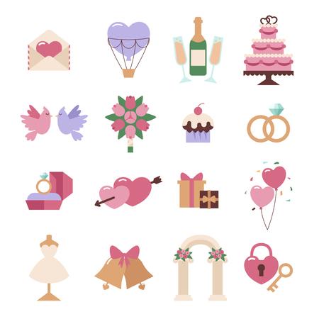 wedding bouquet: Wedding icon set isolated on white background. Wedding, marriage, holidays icons flat cute cartoon style. Hearts, couple, wedding icons Illustration