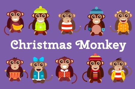 cartoon dance: Happy cartoon monkey toys dancing party birthday background. Monkey party birthday dance. Merry christmas monkey toys, banana, jump, smile, monkey play. Monkey animals cartoon flat style
