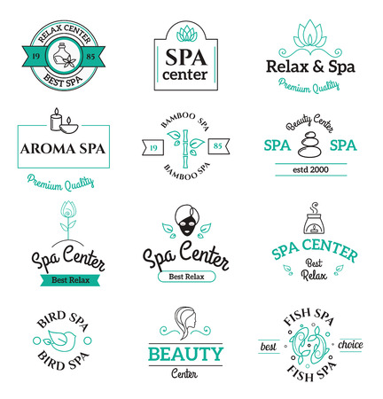 Spa schoonheid en lichaamsverzorging logo templates pictogrammen. Spa iconen op een witte achtergrond. Spa logo pictogrammen. Spa outline badges. gezondheid lichaamsverzorging iconen moderne stijl