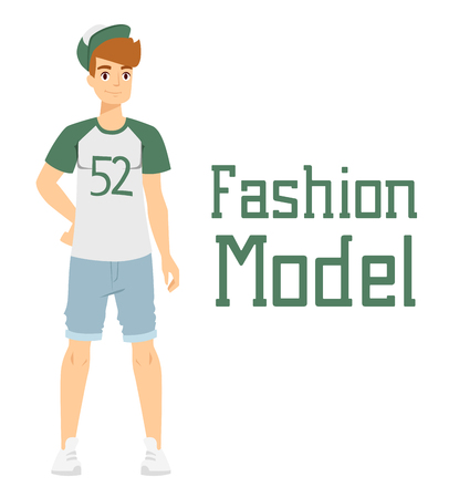 attractive male: Beautiful vector cartoon fashion boy model constructor  look standing over white background. Cartoon fashion young nude man. Modern beauty looks. Some modern everyday clothes icons Illustration