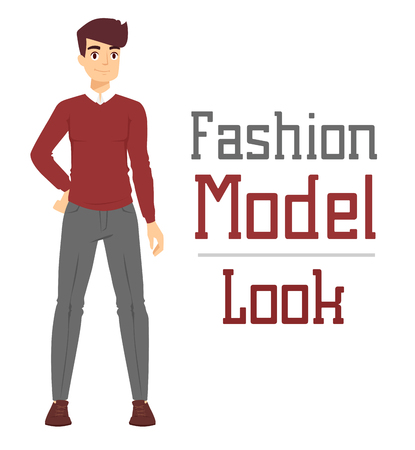 sexy dress: Beautiful vector cartoon fashion boy model constructor  look standing over white background. Cartoon fashion young nude man. Modern beauty looks. Some modern everyday clothes icons Illustration