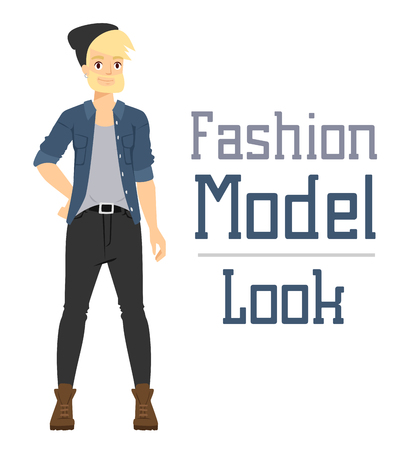 nude man: Beautiful vector cartoon fashion boy model constructor  look standing over white background. Cartoon fashion young nude man. Modern beauty looks. Some modern everyday clothes icons Illustration