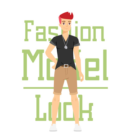 male fashion model: Beautiful vector cartoon fashion boy model constructor  look standing over white background. Cartoon fashion young nude man. Modern beauty looks. Some modern everyday clothes icons Illustration