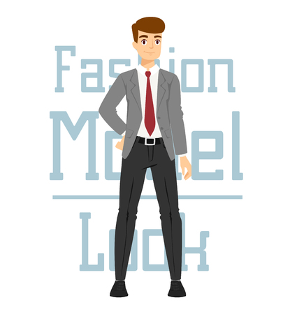 sexy glamour model: Beautiful vector cartoon fashion boy model constructor  look standing over white background. Cartoon fashion young nude man. Modern beauty looks. Some modern everyday clothes icons Illustration