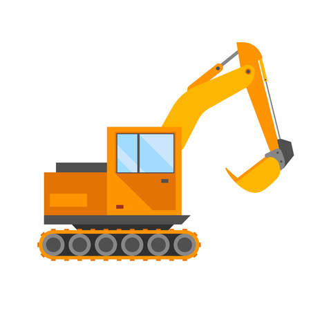 technics: Building under construction excavator technics vector illustration. Building excavator truck vector. Under construction vector concept.Excavator vector machine isolated. Excavator vector icon isolated Illustration