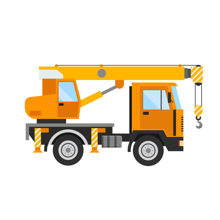 technics: Building under construction crane machine technics vector illustration. Building crane machine  truck vector. Under construction vector concept. Crane machine vector isolated. Crane truck car vector