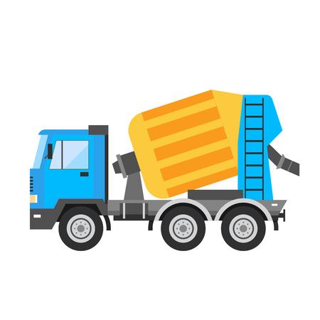 cemento: Edificio en construcción de cemento ilustración técnicas de la máquina mezcladora de vectores. La construcción de mezcladora de cemento camión de máquinas de vectores. Bajo concepto de la construcción del vector. aislado vector Mixer. Mezcladora de cemento
