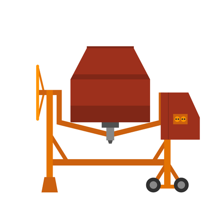 Concrete vector flat syle mixer isolated on white background. Under construction cement mixer
